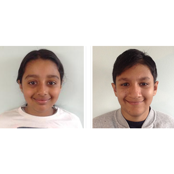 Face photo of Artash Nath 13 years, Arushi Nath 10 years